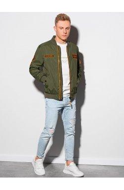 Мужская куртка демисезонная стеганая C485 - оливковый - Ombre
