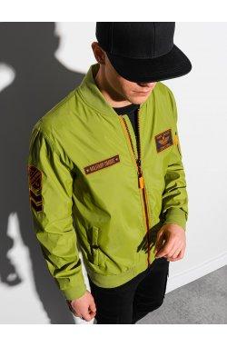 Мужская куртка демисезонная стеганая C485 - зелёная - Ombre