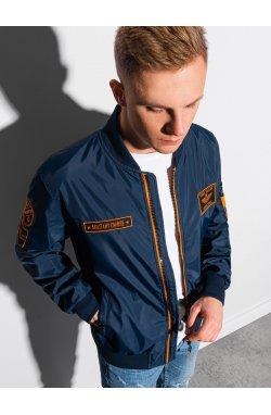 Мужская куртка демисезонная стеганая C485 - темно-синий - Ombre