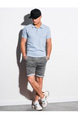 Мужская футболка поло без принта S1374 - голубой - Ombre
