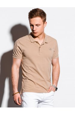 Мужская футболка поло без принта S1374 - бежевый - Ombre