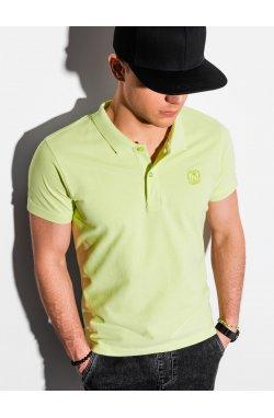 Мужская футболка поло без принта S1374 - зелёный - Ombre