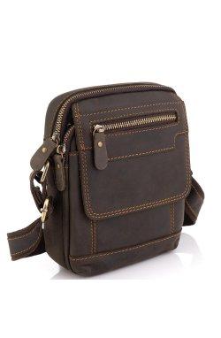 Мужская кожаная сумка коричневая Tiding Bag t2101 - натуральная кожа, коричневый