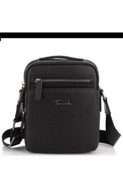 Мужская кожаная сумка через плечо с ручкой Tavinchi TV2605-2A - натуральная кожа, черный