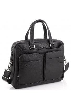 Деловая мужская кожаная сумка для ноутбука Tavinchi TV-1001A - натуральная кожа, черный