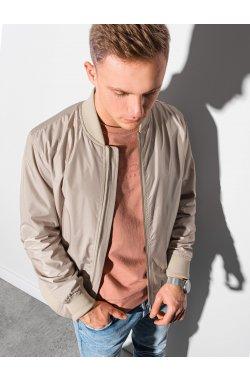 Мужская повседневная куртка-бомберка C439 - бежевый - Ombre