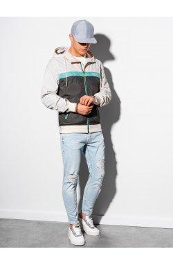 Мужская повседневная куртка C438 - бежевый/графитный - Ombre