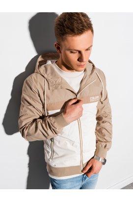 Мужская повседневная куртка C438 - бежевый/серо-бежевый - Ombre