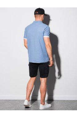 Мужская футболка поло без принта S1382 - синий - Ombre