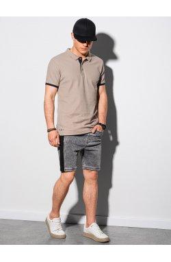 Мужская футболка поло без принта S1382 - светло-коричневый - Ombre