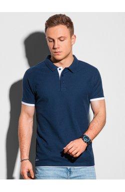 Мужская футболка поло без принта S1382 - темно-синий - Ombre