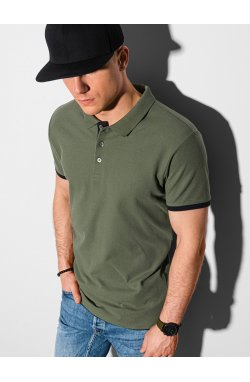 Мужская футболка поло без принта S1382 - оливковый - Ombre
