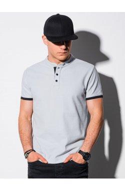 Мужская футболка поло без принта S1381 - светло-серый - Ombre
