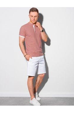 Мужская футболка поло без принта S1381 - розовый - Ombre