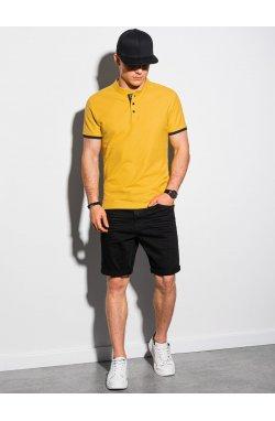 Мужская футболка поло без принта S1381 - жёлтый - Ombre