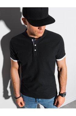 Мужская футболка поло без принта S1381 - чёрная - Ombre