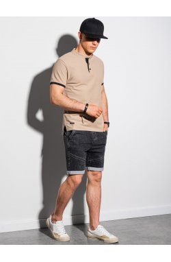 Мужская футболка поло без принта S1381 - бежевый - Ombre