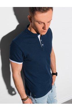 Мужская футболка поло без принта S1381 - темно-синий - Ombre