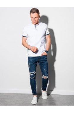 Мужская футболка поло без принта S1381 - белый - Ombre
