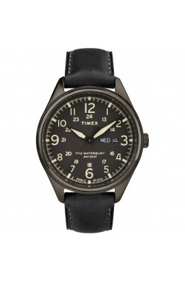 Мужские часы Timex WATERBURY Day Date Tx2r89100, Циферблат - Чёрный, Корпус - Серый, США