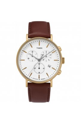 Мужские часы Timex FAIRFIELD Chrono Tx2t32300, Циферблат - Белый, Корпус - Позолота, США