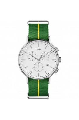 Мужские часы Timex FAIRFIELD Chrono Tx2r26900, Циферблат - Белый, Корпус - Сталь, США