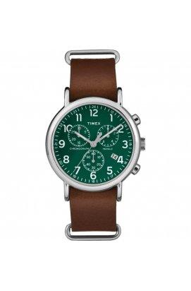 Мужские часы Timex WEEKENDER Chrono Oversized Tx2p97400, Циферблат - Зелёный, Корпус - Сталь, США