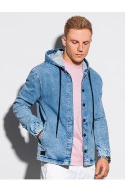 Мужская джинсовая куртка C477 - светло-синий - Ombre