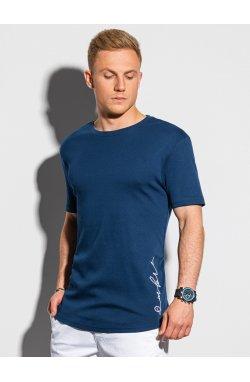 Мужская футболка с принтом S1387 - темно-синий - Ombre