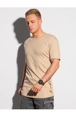 Мужская футболка с принтом S1387 - бежевый - Ombre