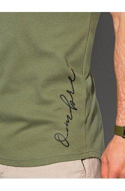 Мужская футболка с принтом S1387 - оливковый - Ombre