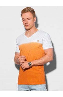 Мужская футболка без принта S1380 - оранжевый - Ombre