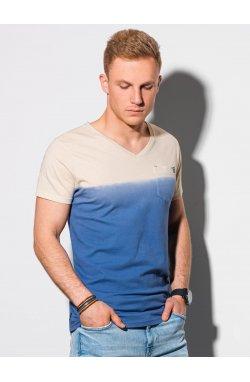 Мужская футболка без принта S1380 - темно-синий - Ombre