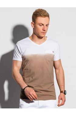 Мужская футболка без принта S1380 - коричневый - Ombre