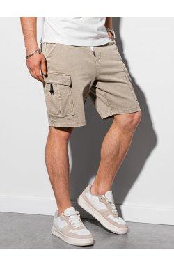 Мужские шорты короткие спортивные W292 - светло-бежевый - Ombre
