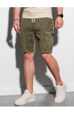 Мужские шорты короткие спортивные W292 - оливковый - Ombre