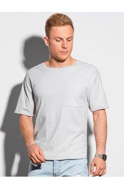 Мужская футболка без принта S1386 - светло-серый - Ombre