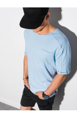Мужская футболка без принта S1386 - светло-синий - Ombre