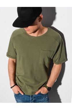 Мужская футболка без принта S1386 - оливковый - Ombre