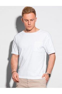 Мужская футболка без принта S1386 - белый - Ombre
