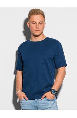Мужская футболка без принта S1386 - темно-синий - Ombre