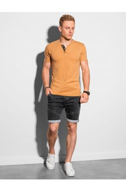 Мужская футболка без принта S1390 - жёлтый - Ombre
