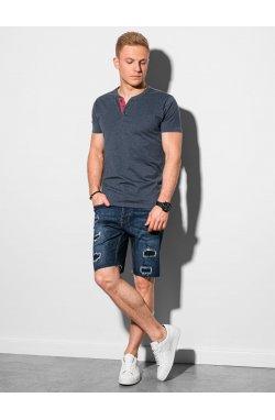 Мужская футболка без принта S1390 - темно-синий - Ombre