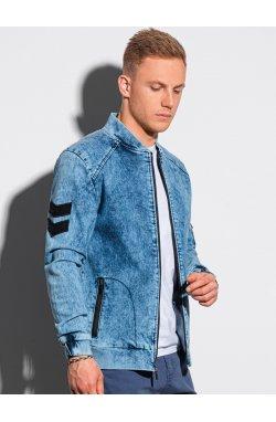 Мужская куртка демисезонная бомбер C240 - светло-синий - Ombre