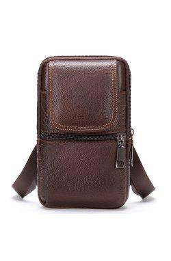 Сумка-барсетка на ремень брюк кожаная Vintage 20352 Коричневая