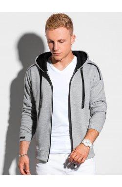 Толстовка мужская на застежке с капюшоном B1205 – серая меланж - Ombre