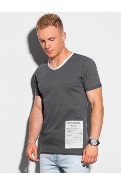 Мужская футболка с принтом S1383 - графитный - Ombre