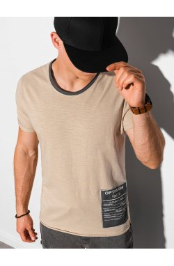 Мужская футболка с принтом S1383 - бежевый - Ombre
