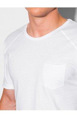 Мужская футболка без принта S1384 - белый - Ombre