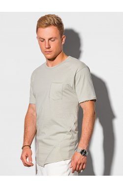 Мужская футболка без принта S1384 - серый - Ombre